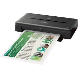 Canon PIXMA IP110 Mobile Inkjet Printer:A4 Printer, 9ipm mono, 5.8ipm colour, 9600 x 2400 dpi resolution, 50 sheet rear tray, manual duplex, USB, WiFi, Direct print through Access Mode, WLAN Pictbridge,-5 ink system, 1pl, Uses PG-35 & CL-36. With Battery-0