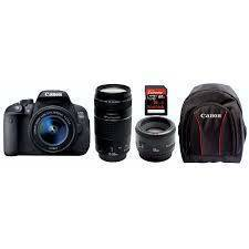Canon EOS 750D CREATE BUNDLE 18-55 IS STM lens, 55-250 IS STM lens, 50mm f1.8 IS STM, Sandisk 8Gb Card, Canon BAGHEERA Backpack (On Line Only)-0